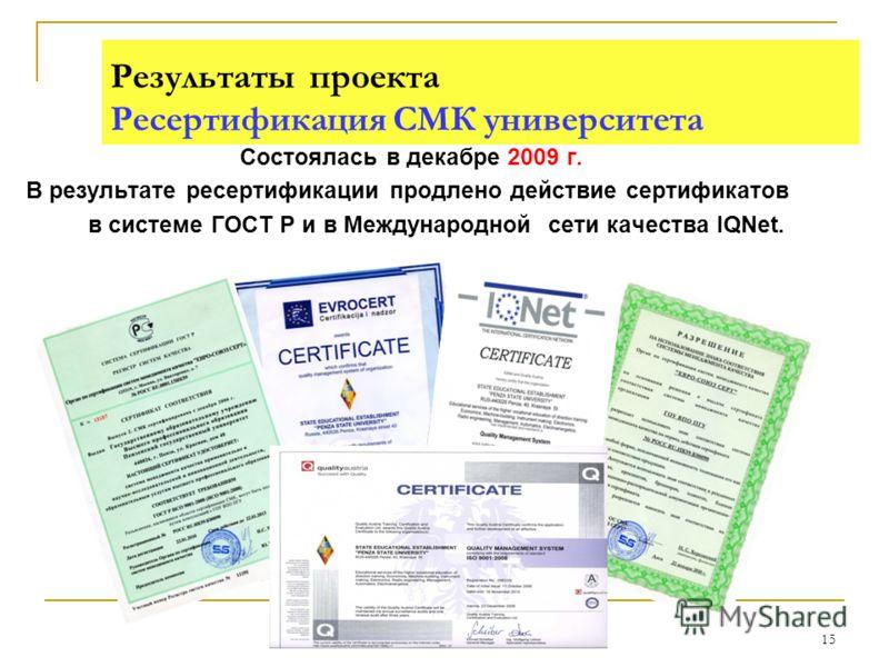 15 Результаты проекта Ресертификация СМК университета Состоялась в декабре 2009 г. В результате ресертификации продлено действие сертификатов в системе ГОСТ Р и в Международной сети качества IQNet.