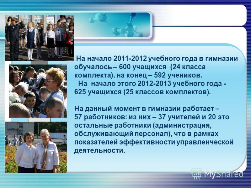 На начало 2011-2012 учебного года в гимназии обучалось – 600 учащихся (24 класса комплекта), на конец – 592 учеников. На начало этого 2012-2013 учебного года - 625 учащихся (25 классов комплектов). На данный момент в гимназии работает – 57 работников