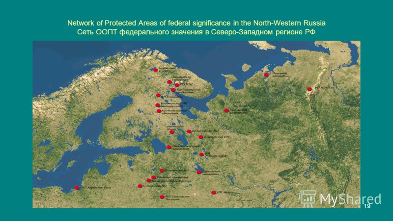 19 Network of Protected Areas of federal significance in the North-Western Russia Сеть ООПТ федерального значения в Северо-Западном регионе РФ