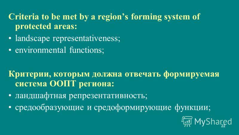 22 Criteria to be met by a regions forming system of protected areas: landscape representativeness; environmental functions; Критерии, которым должна отвечать формируемая система ООПТ региона: ландшафтная репрезентативность; средообразующие и средофо