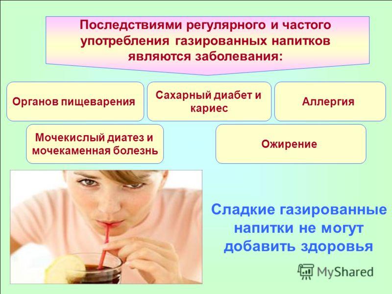 Последствиями регулярного и частого употребления газированных напитков являются заболевания: Органов пищеварения Сахарный диабет и кариес Мочекислый диатез и мочекаменная болезнь Аллергия Ожирение Сладкие газированные напитки не могут добавить здоров