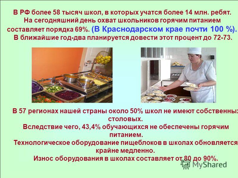 В РФ более 58 тысяч школ, в которых учатся более 14 млн. ребят. На сегодняшний день охват школьников горячим питанием составляет порядка 69%. (В Краснодарском крае почти 100 %). В ближайшие год-два планируется довести этот процент до 72-73. В 57 реги