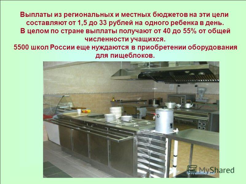 Выплаты из региональных и местных бюджетов на эти цели составляют от 1,5 до 33 рублей на одного ребенка в день. В целом по стране выплаты получают от 40 до 55% от общей численности учащихся. 5500 школ России еще нуждаются в приобретении оборудования