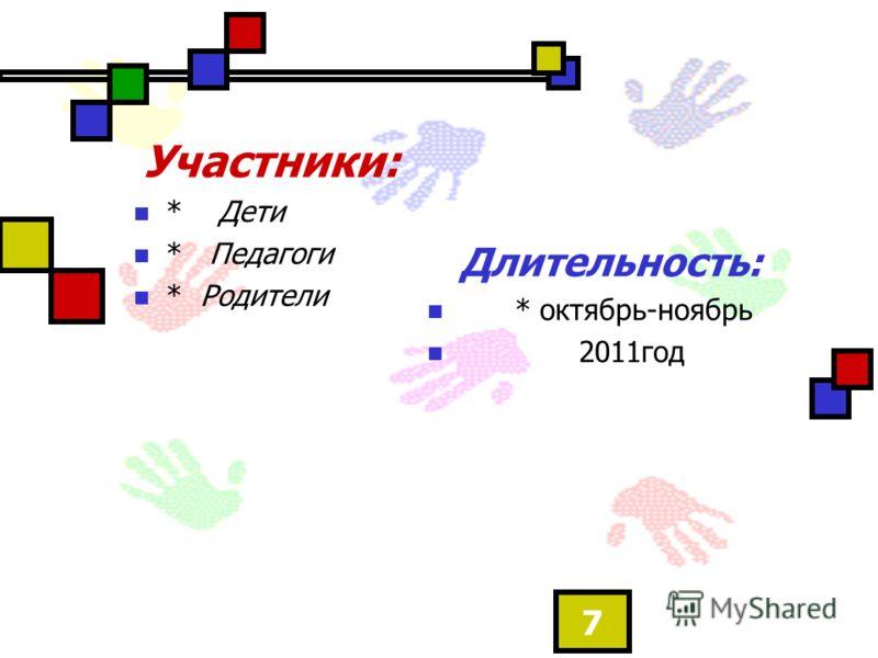 7 Участники: * Дети * Педагоги * Родители Длительность: * октябрь-ноябрь 2011год