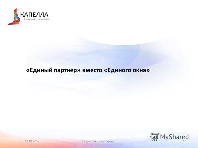 13.10.2012Государство как партнер10 «Единый партнер» вместо «Единого окна»