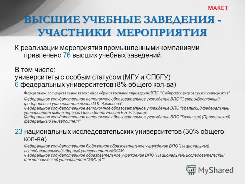 ВЫСШИЕ УЧЕБНЫЕ ЗАВЕДЕНИЯ - УЧАСТНИКИ МЕРОПРИЯТИЯ МАКЕТ К реализации мероприятия промышленными компаниями привлечено 76 высших учебных заведений В том числе: университеты с особым статусом (МГУ и СПбГУ) 6 федеральных университетов (8% общего кол-ва) Ф