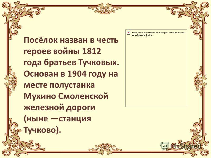 Посёлок назван в честь героев войны 1812 года братьев Тучковых. Основан в 1904 году на месте полустанка Мухино Смоленской железной дороги (ныне станция Тучково).