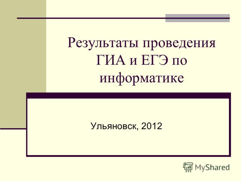 Результаты проведения ГИА и ЕГЭ по информатике Ульяновск, 2012