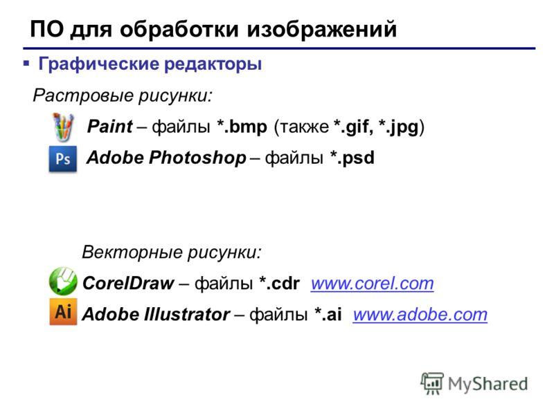 ПО для работы с текстом Текстовые редакторы – для редактирования текстовых документов без оформления Блокнот – файлы *.txt Текстовые процессоры – для редактирования текстовых документов WordPad – файлы *.doc (текст + рисунки) Word – файлы *.doc, *.do
