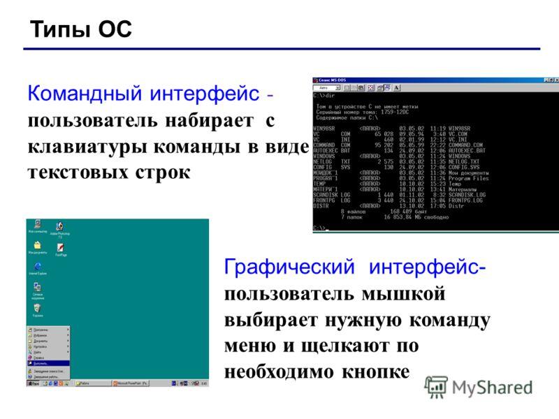 Типы ОС Однопользовательские – в каждый момент с компьютером работает один пользователь, он получает все ресурсы компьютера. Многопользовательские – с мощным компьютером одновременно работают несколько пользователей. терминал = монитор + клавиатура т