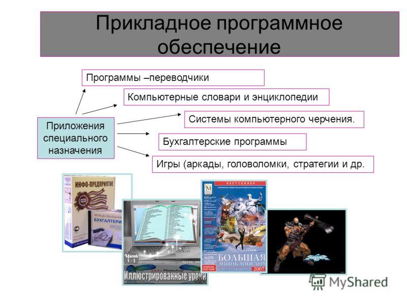 Приложения – это прикладные программы, позволяющие пользователю обрабатывать текстовую, графическую числовую, аудио- и видеоинформацию, а также работать в компьютерных сетях, не владея программированием. Приложения общего назначения Программы анимаци