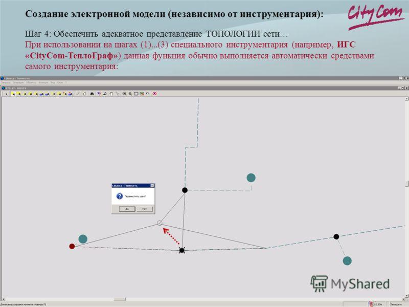 Создание электронной модели (независимо от инструментария): Шаг 4: Обеспечить адекватное представление ТОПОЛОГИИ сети… При использовании на шагах (1)...(3) специального инструментария (например, ИГС «CityCom-ТеплоГраф») данная функция обычно выполняе