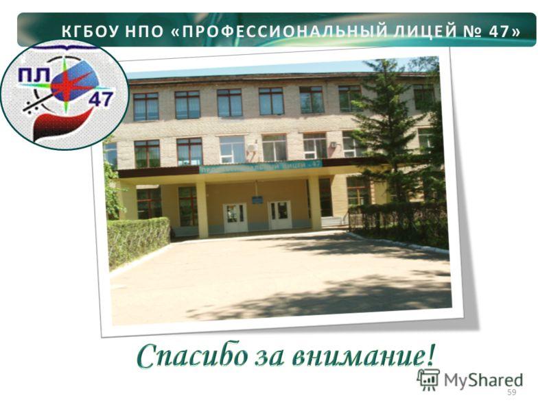 КГБОУ НПО «ПРОФЕССИОНАЛЬНЫЙ ЛИЦЕЙ 47» 59