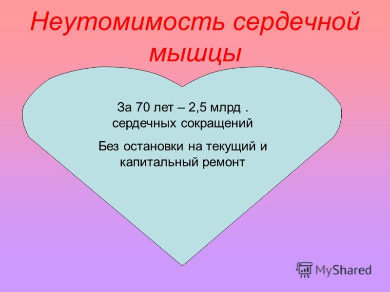 Неутомимость сердечной мышцы За 70 лет – 2,5 млрд. сердечных сокращений Без остановки на текущий и капитальный ремонт
