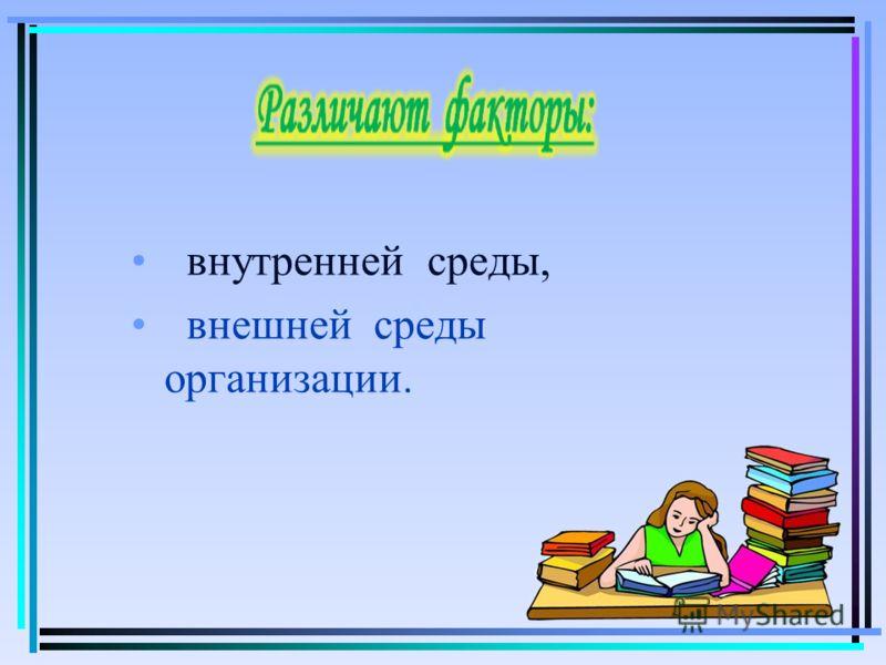 внутренней среды, внешней среды организации.