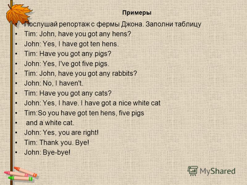 Примеры Послушай репортаж с фермы Джона. Заполни таблицу Tim: John, have you got any hens? John: Yes, I have got ten hens. Tim: Have you got any pigs? John: Yes, I've got five pigs. Tim: John, have you got any rabbits? John: No, I haven't. Tim: Have