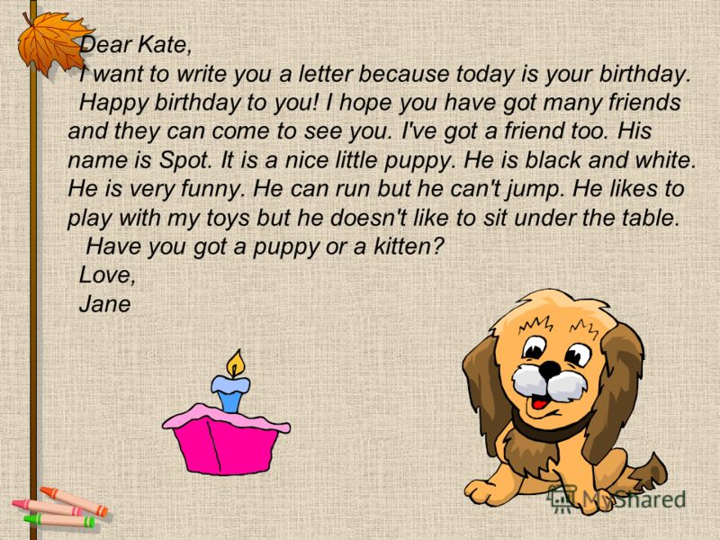 Dear Kate, I want to write you a letter because today is your birthday. Happy birthday to you! I hope you have got many friends and they can come to see you. I've got a friend too. His name is Spot. It is a nice little puppy. He is black and white. H