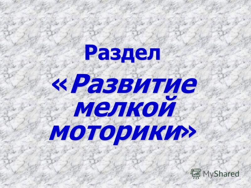 Раздел «Развитие мелкой моторики»