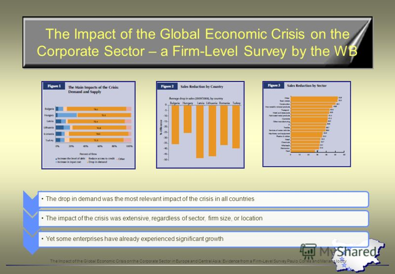 The Impact of the Global Economic Crisis on the Corporate Sector – a Firm-Level Survey by the WB The drop in demand was the most relevant impact of the crisis in all countries The impact of the crisis was extensive, regardless of sector, firm size, o