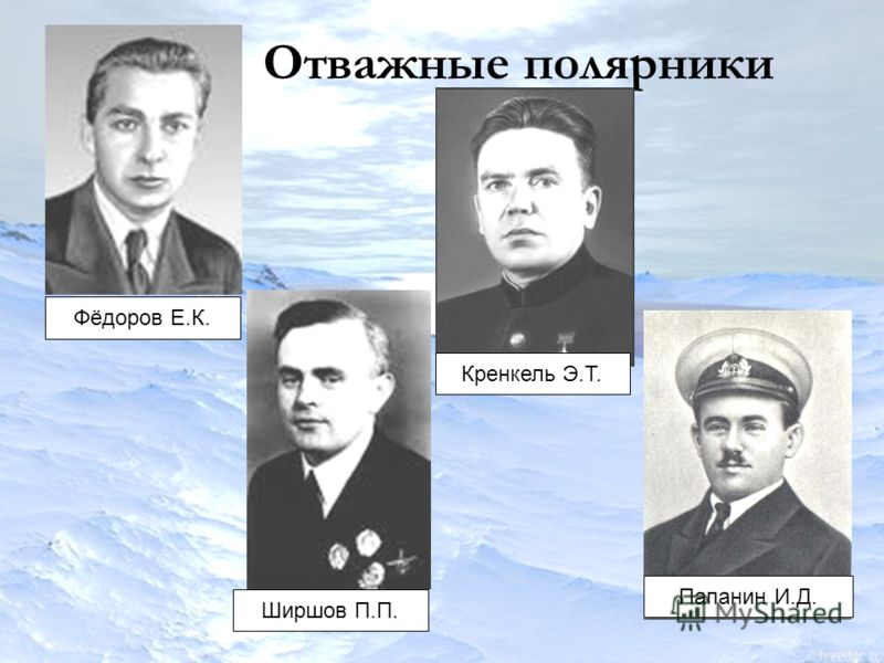 Отважные полярники Фёдоров Е.К. Ширшов П.П. Кренкель Э.Т.Папанин И.Д.