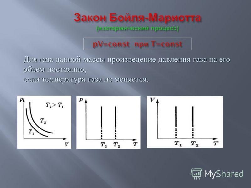 Для газа данной массы произведение давления газа на его объем постоянно, если температура газа не меняется.