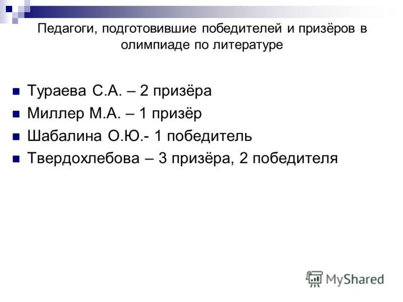 Педагоги, подготовившие победителей и призёров в олимпиаде по литературе Тураева С.А. – 2 призёра Миллер М.А. – 1 призёр Шабалина О.Ю.- 1 победитель Твердохлебова – 3 призёра, 2 победителя