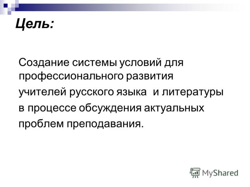 Цель: Создание системы условий для профессионального развития учителей русского языка и литературы в процессе обсуждения актуальных проблем преподавания.