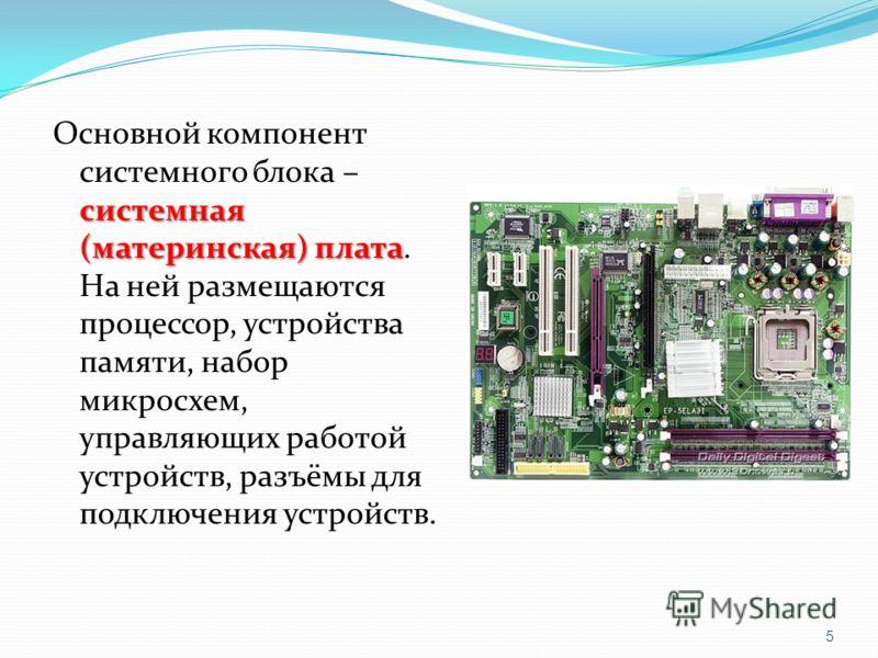 системная (материнская) плата Основной компонент системного блока – системная (материнская) плата. На ней размещаются процессор, устройства памяти, набор микросхем, управляющих работой устройств, разъёмы для подключения устройств. 5
