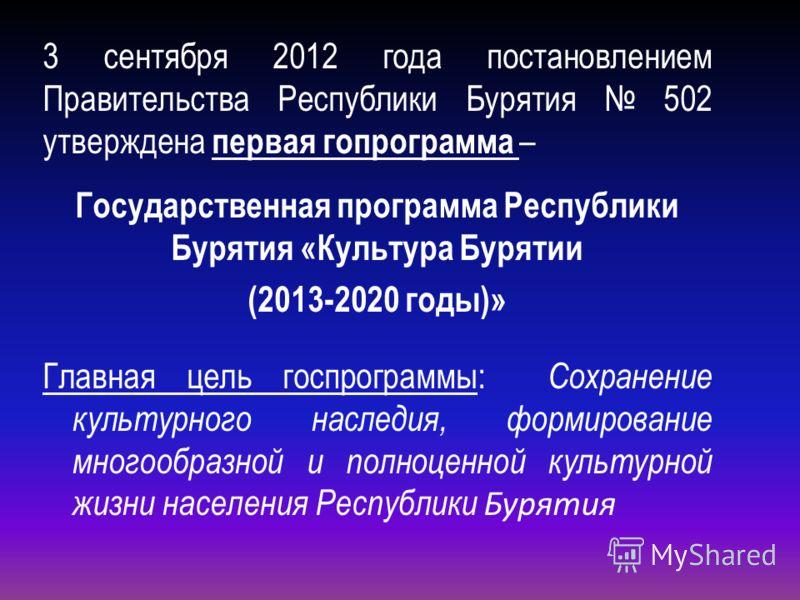 3 сентября 2012 года постановлением Правительства Республики Бурятия 502 утверждена первая гопрограмма – Государственная программа Республики Бурятия «Культура Бурятии (2013-2020 годы)» Главная цель госпрограммы: Сохранение культурного наследия, форм