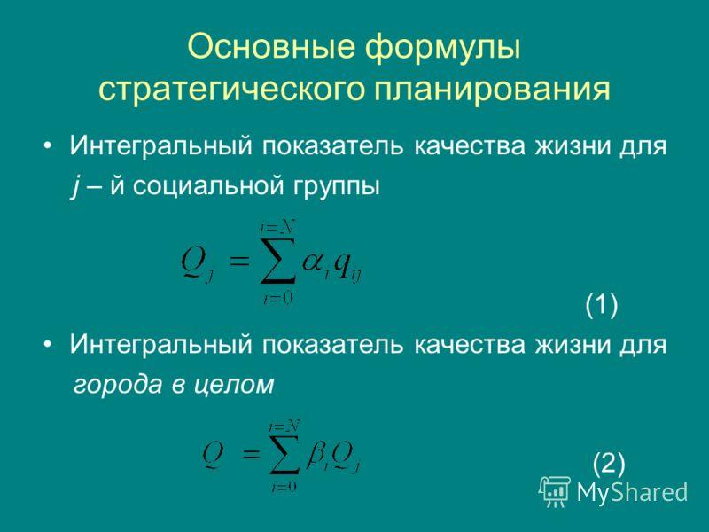 Основные формулы стратегического планирования Интегральный показатель качества жизни для j – й социальной группы (1) Интегральный показатель качества жизни для города в целом (2)