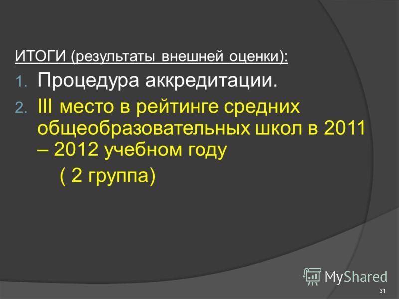 ИТОГИ (результаты внешней оценки): 1. Процедура аккредитации. 2. III место в рейтинге средних общеобразовательных школ в 2011 – 2012 учебном году ( 2 группа) 31
