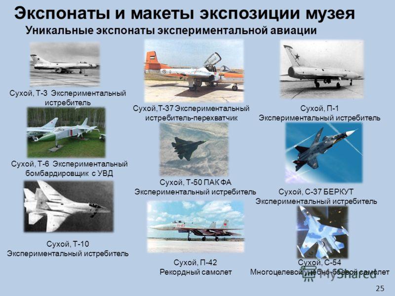 Сухой, Т-3 Экспериментальный истребитель Сухой,Т-37 Экспериментальный истребитель-перехватчик Сухой, Т-6 Экспериментальный бомбардировщик с УВД Сухой, Т-10 Экспериментальный истребитель Сухой, Т-50 ПАК ФА Экспериментальный истребитель Сухой, П-42 Рек