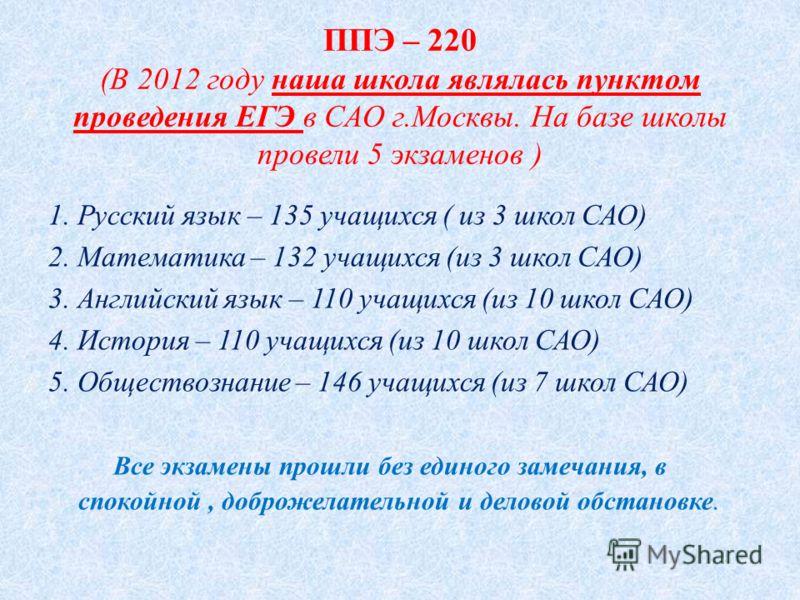 ППЭ – 220 (В 2012 году наша школа являлась пунктом проведения ЕГЭ в САО г.Москвы. На базе школы провели 5 экзаменов ) 1. Русский язык – 135 учащихся ( из 3 школ САО) 2. Математика – 132 учащихся (из 3 школ САО) 3. Английский язык – 110 учащихся (из 1