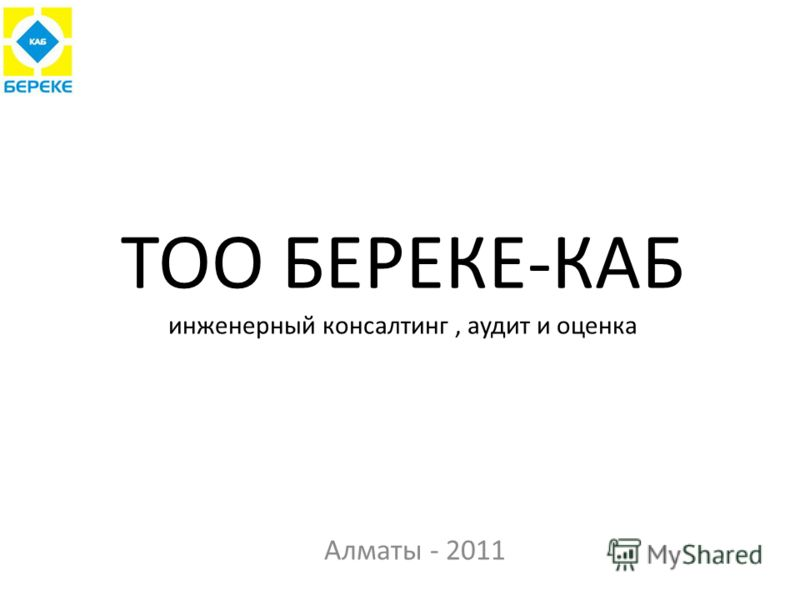 ТОО БЕРЕКЕ-КАБ инженерный консалтинг, аудит и оценка Алматы - 2011