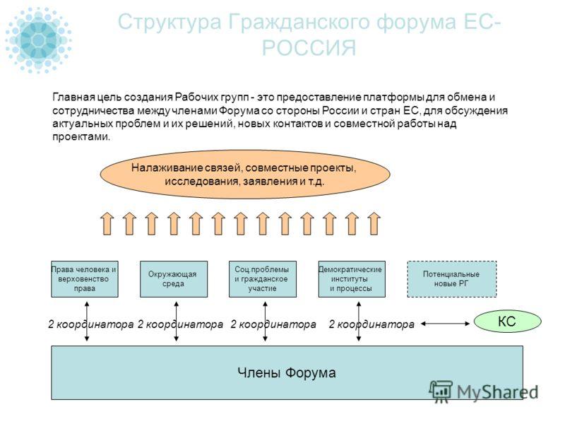 Структура Гражданского форума ЕС- РОССИЯ Главная цель создания Рабочих групп - это предоставление платформы для обмена и сотрудничества между членами Форума со стороны России и стран ЕС, для обсуждения актуальных проблем и их решений, новых контактов