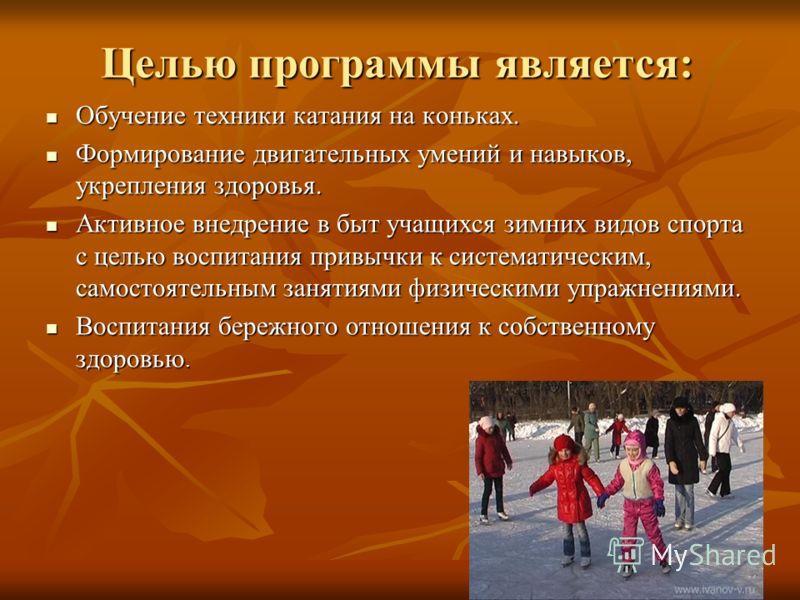 Целью программы является: Обучение техники катания на коньках. Обучение техники катания на коньках. Формирование двигательных умений и навыков, укрепления здоровья. Формирование двигательных умений и навыков, укрепления здоровья. Активное внедрение в