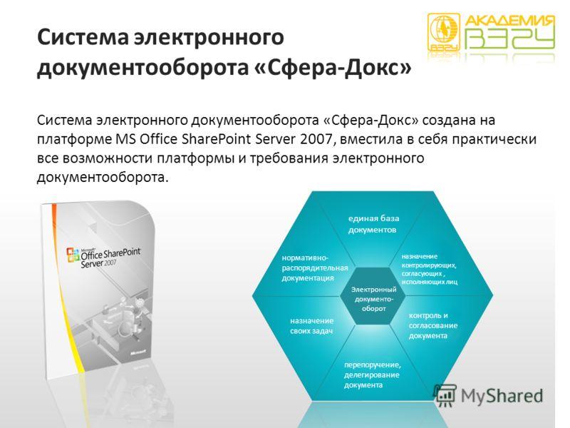Система электронного документооборота «Сфера-Докс» Система электронного документооборота «Сфера-Докс» создана на платформе MS Office SharePoint Server 2007, вместила в себя практически все возможности платформы и требования электронного документообор