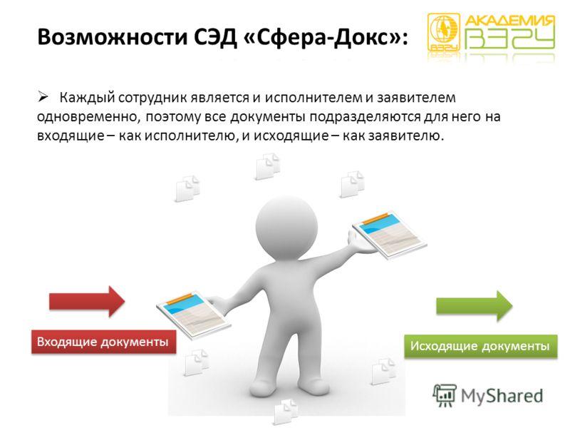Каждый сотрудник является и исполнителем и заявителем одновременно, поэтому все документы подразделяются для него на входящие – как исполнителю, и исходящие – как заявителю. Входящие документы