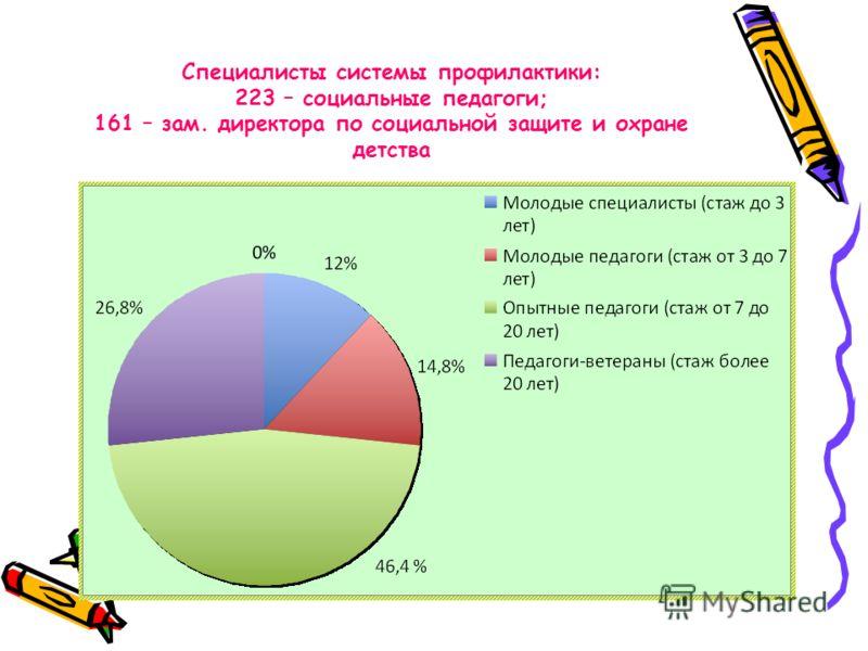 Специалисты системы профилактики: 223 – социальные педагоги; 161 – зам. директора по социальной защите и охране детства