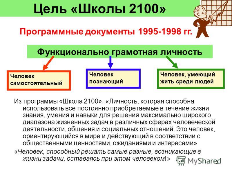3 Цель «Школы 2100» Функционально грамотная личность Человек самостоятельный Человек познающий Человек, умеющий жить среди людей Из программы «Школа 2100»: «Личность, которая способна использовать все постоянно приобретаемые в течение жизни знания, у