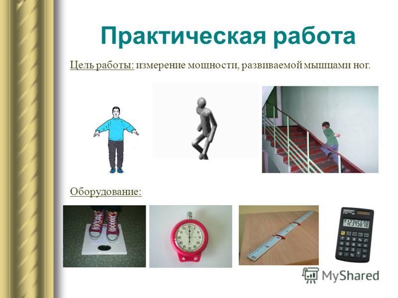 Практическая работа Цель работы: измерение мощности, развиваемой мышцами ног. Оборудование: