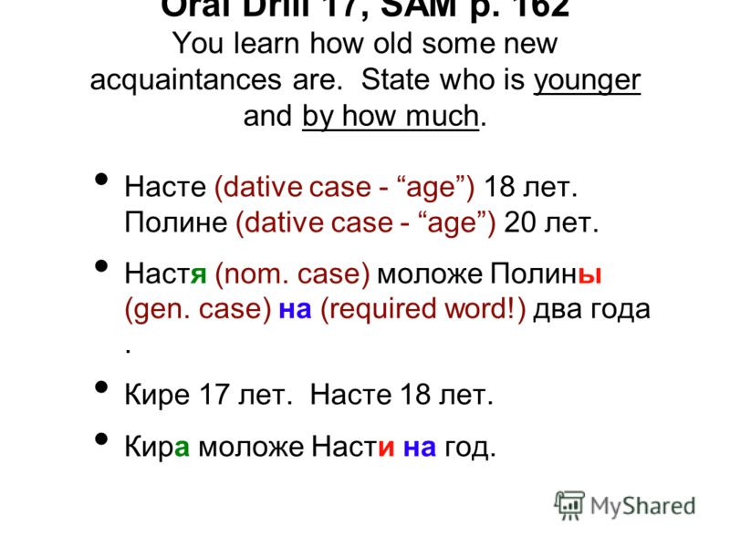 Oral Drill 17, SAM p. 162 You learn how old some new acquaintances are. State who is younger and by how much. Насте (dative case - age) 18 лет. Полине (dative case - age) 20 лет. Настя (nom. case) моложе Полины (gen. case) на (required word!) два год