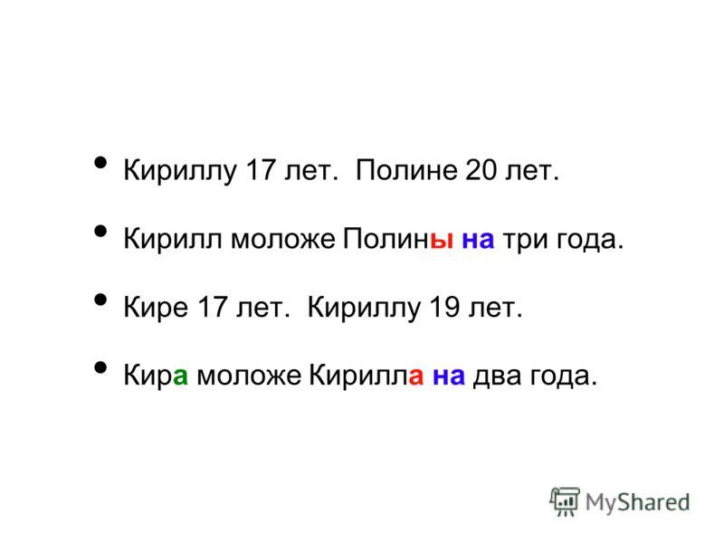 Кириллу 17 лет. Полине 20 лет. Кирилл моложе Полины на три года. Кире 17 лет. Кириллу 19 лет. Кира моложе Кирилла на два года.