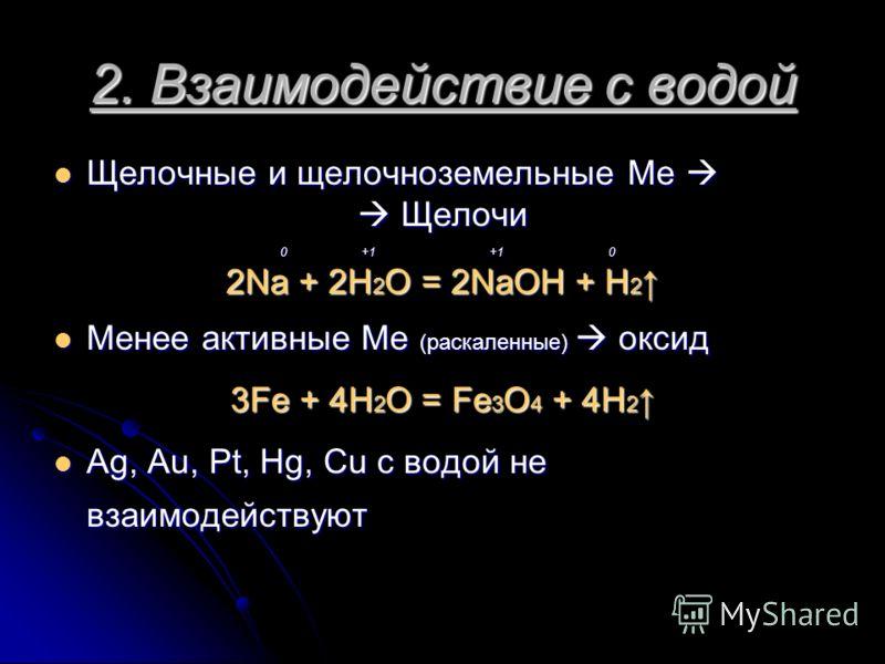 2. Взаимодействие с водой Щелочные и щелочноземельные Ме Щелочные и щелочноземельные Ме Щелочи Щелочи 0 +1 +1 0 0 +1 +1 0 2Na + 2H 2 O = 2NaOH + H 2 2Na + 2H 2 O = 2NaOH + H 2 Менее активные Ме (раскаленные) оксид Менее активные Ме (раскаленные) окси