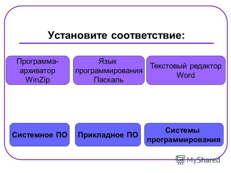 Установите соответствие: Системное ПО Системы программирования Прикладное ПО Программа- архиватор WinZip Текстовый редактор Word Язык программирования Паскаль