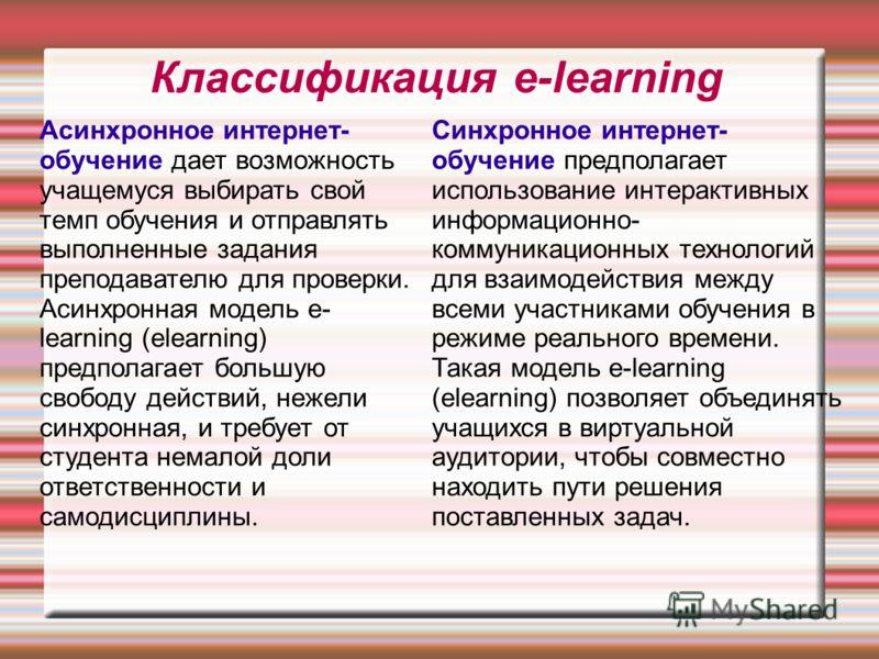Классификация e-learning Асинхронное интернет- обучение дает возможность учащемуся выбирать свой темп обучения и отправлять выполненные задания преподавателю для проверки. Асинхронная модель e- learning (elearning) предполагает большую свободу действ