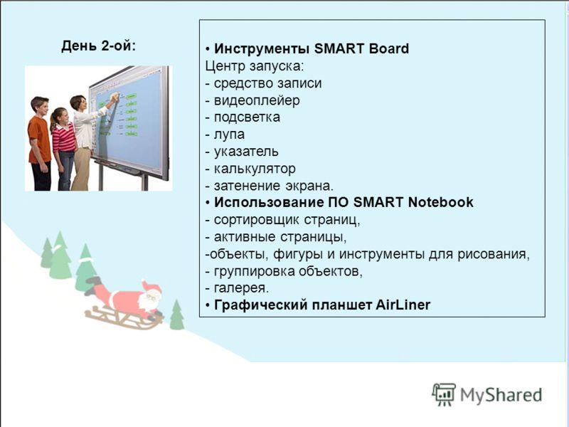 Инструменты SMART Board Центр запуска: - средство записи - видеоплейер - подсветка - лупа - указатель - калькулятор - затенение экрана. Использование ПО SMART Notebook - сортировщик страниц, - активные страницы, -объекты, фигуры и инструменты для рис