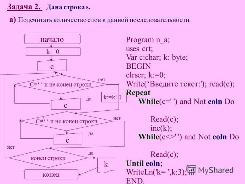 Задача 2. Дана строка s. а) Подсчитать количество слов в данной последовательности. Program n_a; uses crt; Var c:char; k: byte; BEGIN clrscr; k:=0; Write(Введите текст:'); read(c); Repeat While(c=' ') and Not eoln Do Read(c); inc(k); While(c' ') and