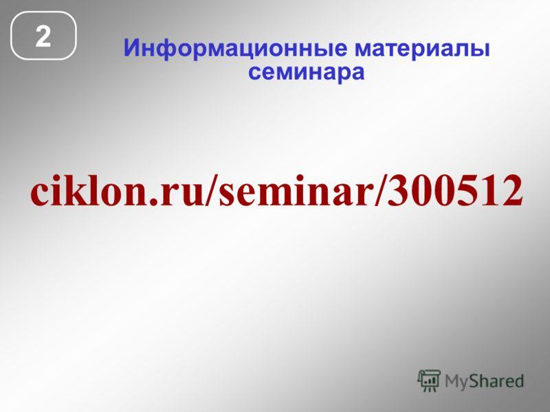 Информационные материалы семинара 2 ciklon.ru/seminar/300512