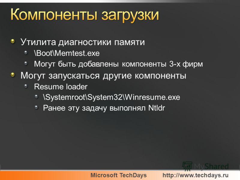 Microsoft TechDayshttp://www.techdays.ru Утилита диагностики памяти \Boot\Memtest.exe Могут быть добавлены компоненты 3-х фирм Могут запускаться другие компоненты Resume loader \Systemroot\System32\Winresume.exe Ранее эту задачу выполнял Ntldr